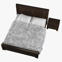 3d model realistic wooden bed linens
