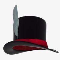 3d model black cylinder hat