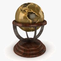 desk world globe 3d model