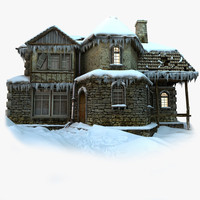 model old house snowy snow