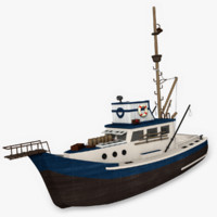 wooden fishing boat 3d 3ds