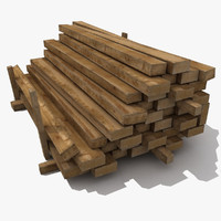 3d wooden wood beam model