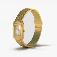 gold watch 3d obj