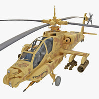 3d model ah-64 apache 3 helicopter