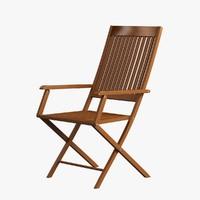3d model wooden chair arm wood