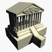 3d historical temple stone