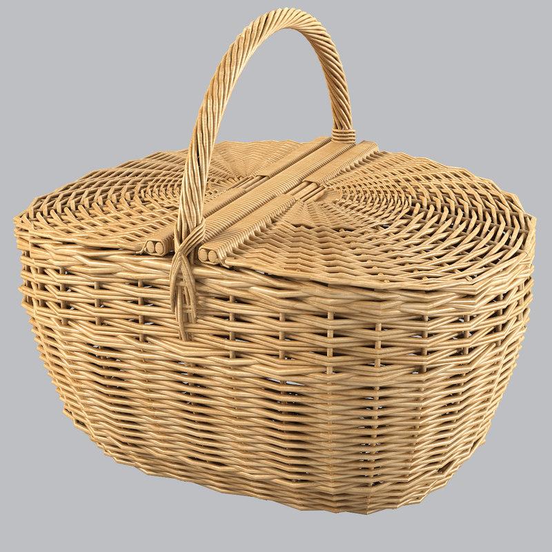 b wicker picnic basket woven fiber rattan bin storage country container decorative decor .jpg