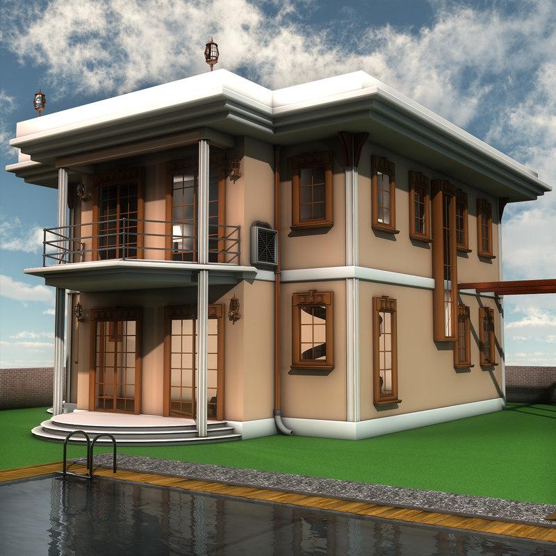 Modern villa interior furniture 3d model for Model villa moderne