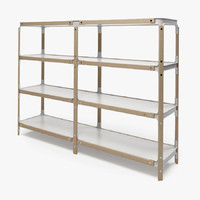 photorealistic steelwood shelving magis 3d model