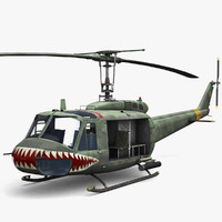 3d model of low-poly bell uh-1 huey