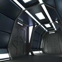 3d model of corridor scifi