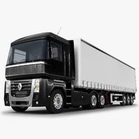 renault magnum 480 trailer truck 3d model
