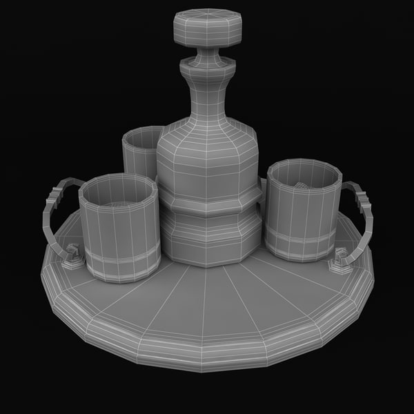 3dsmax whisky serving tray - Whisky And Serving Tray... by chaja