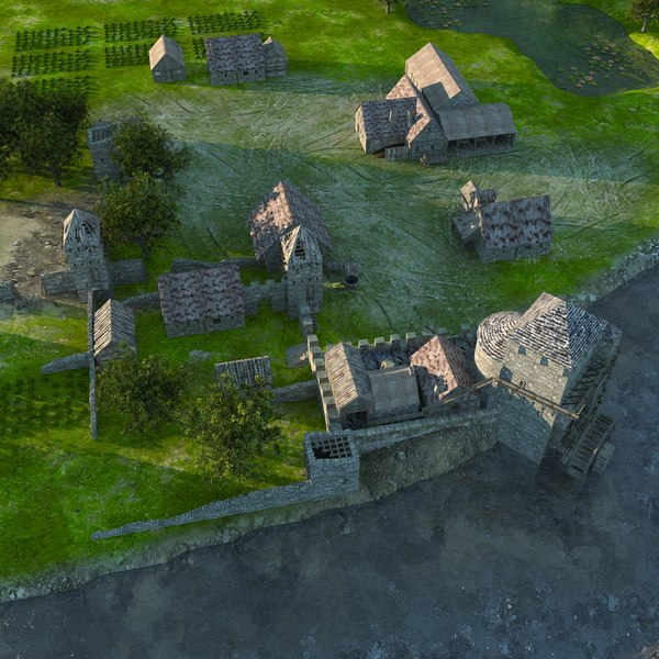 medieval village 3d model - Medieval Village... by bitonicus