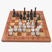 chess set board 3d model
