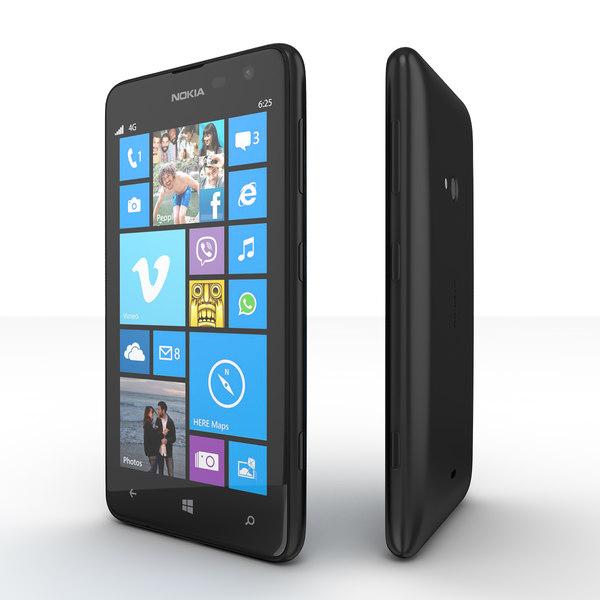 3d model nokia lumia 625 smartphone Нокиа Люмия 625 Черный