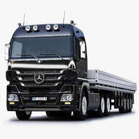 3d mercedes-benz actros trailer truck model