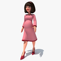 rigged cartoon pregnant woman 3d max