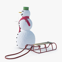 snowman sledge winter