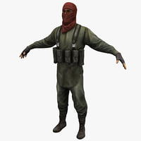 rigged guerrilla soldier 3d model