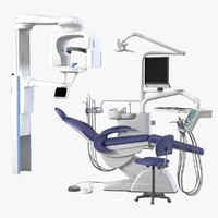 3d planmeca dental equipment set model