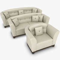 realistic leather sofa set 3d obj