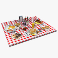 3d breakfast food table setting