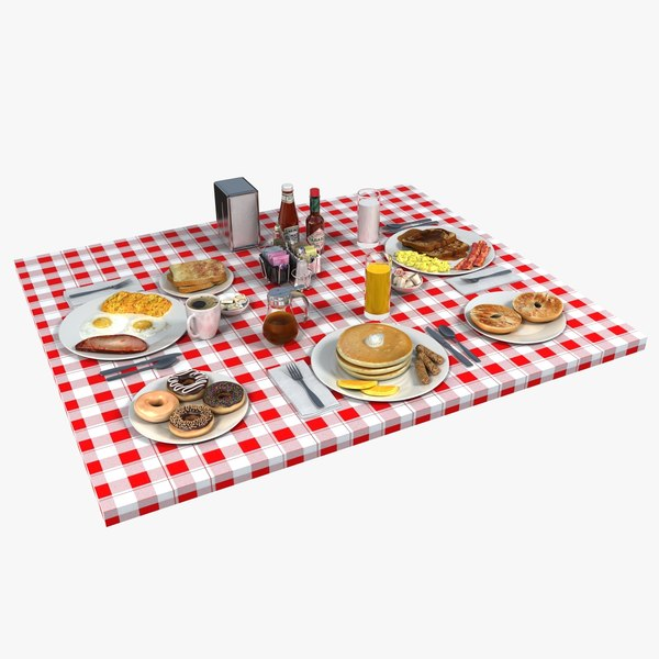 3d breakfast food table setting - Breakfast Food Table... by monkeyodoom