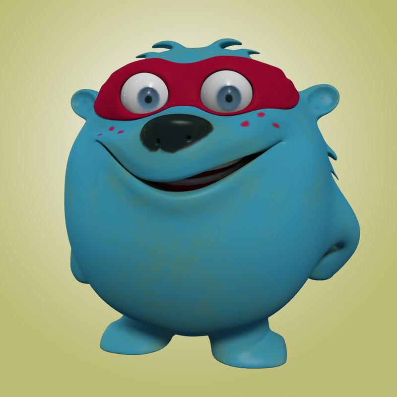 Cartoon Characters Monsters : Monster cartoon character facial animation obj