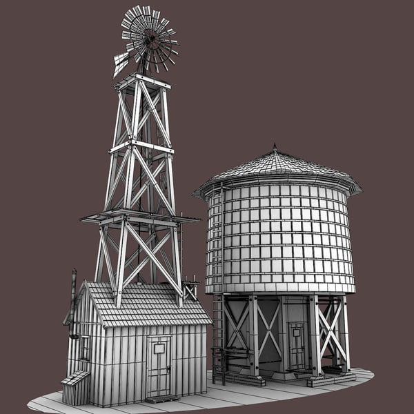 Farm windmill water tower 3d model for Farmhouse tower