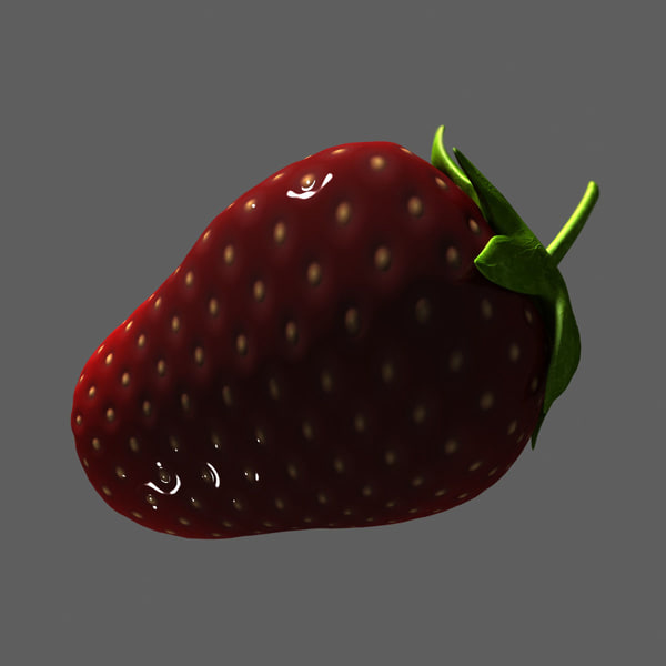 mature strawberry 3d max - Half Mature Strawberry... by Interu2x