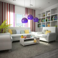 3d 3ds interior scene living room