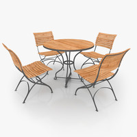 Classical Furniture Set Steel & Teak 02