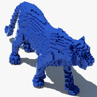 3d pixel tiger model