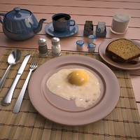 3ds max scene fried egg