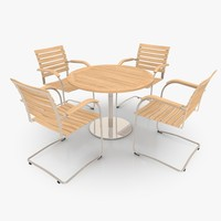 Cantilever Furniture Set Stainless Steel & Teak 01