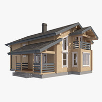 3ds max log house