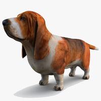 basset hound dog 3d max