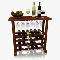 realistic wine bar set 3d model