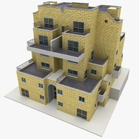 3ds max realistic apartment building brick