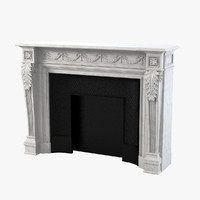 3d model marble fireplace