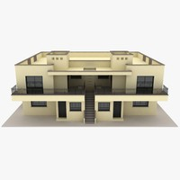 3ds realistic duplex house yellow