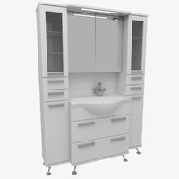 3d bathroom furniture set wardrobe model