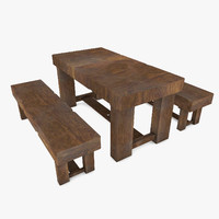 wooden table seats 3d