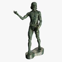statue john baptiste rodin 3d obj
