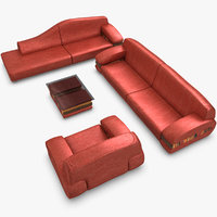 3ds realistic red modern sofa