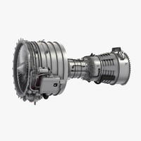 cfm56 turbofan aircraft engine 3d model