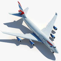3d boeing 747 british airways model