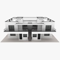realistic duplex house 3d model