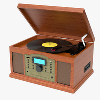photoreal antique turntable crosley 3ds